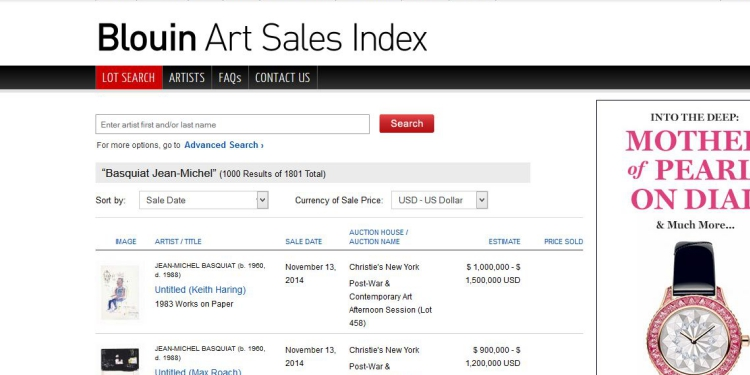 Blouinartsales screenshot