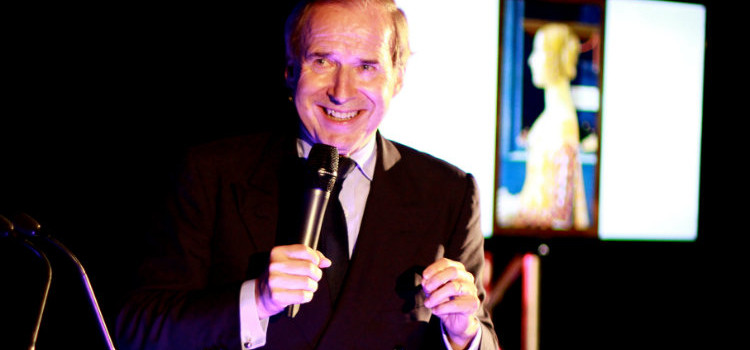 Simon de Pury, auctioneer and collector, speaking at the launch of Falcon Fine Art